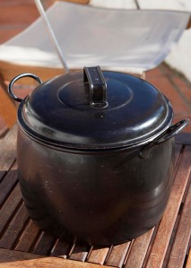 This is my grandmother's old cholent pot - and probably her grandmother's before her -perfect for the task.
